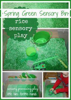 Spring Green Colored Rice Sensory Bin