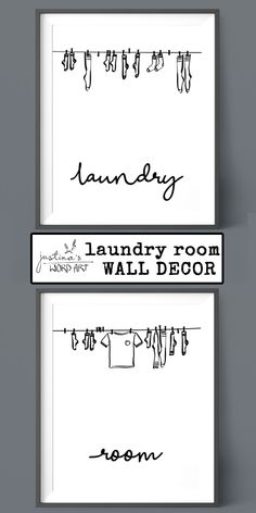 Laundry Room Decor, Printable Artwork, Set of 2 Prints, Digital Laundry Room Art White Laundry Rooms, Laundry Room Art, Room Wall Decor, Word Art, Printable Wall Art, Fine Art Paper, Framed Art, Poster Prints, Words