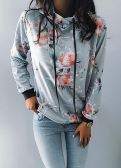 $27.99! Chicnico Chicnico Casual Floral Print Hoodie Long Sleeve Top Get ready for Fall fashion! Find fashionable outfits for the new season.