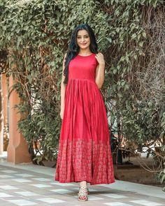 Image may contain: 1 person, standing Kalamkari Dresses, Ikkat Dresses, Long Gown Dress, Frock Dress, Frock Fashion, Fashion Dresses, Indian Designer Outfits, Designer Dresses, Party Wear Dresses