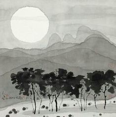 Zen Painting, Korean Painting, Chinese Painting, Chinese Art, Watercolor Landscape, Landscape Art, Landscape Paintings, Scenic Wallpaper, Chinese Drawings