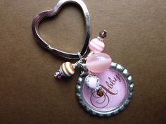 Pink Ice Bottle Cap Keychain