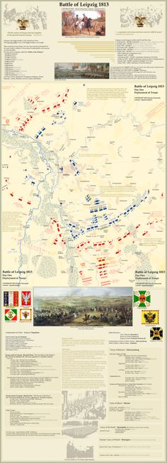 Deployment of French, Polish, German, Russian, Austrian, Swedish and Italian troops. (Karte der Truppenstellungen.) Article: napoleonistyka.atspace.com/Leipzig_battle.htm Waterloo Map, Battle Of Waterloo, Napoleon Russia, Comanche Indians, Military Tactics, American Civil War, American Revolutionary War, French Army, Historical Maps