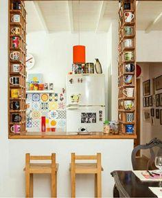 New Kitchen Storage Decor Display Ideas New Kitchen, Kitchen Decor, Kitchen Ideas, Quirky Kitchen, Mini Kitchen, Rustic Kitchen, Coffee Mug Display, Coffee Cup Storage, Cabinet Decor