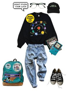 """parker boi"" by breakfastinohio ❤ liked on Polyvore featuring Retrò, Converse, Levi's, JanSport, Hot Topic and Flying Coffin"
