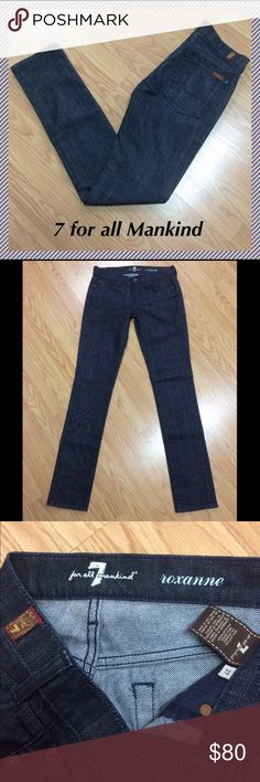 """NWOT 7 for all mankind Roxanne size 27 x 33.25"""" 7 for all Mankind Roxanne straight leg jeans • Mercer wash - color is hard to capture but pics 3 and 4 accurately display the color of the jeans • 33.25"""" inseam, 8"""" rise, 15"""" across waist, 12.5"""" leg opening • 98% cotton and 2% spandex • Brand new, tags taken off but never worn ☺ 7 For All Mankind Jeans Straight Leg"""
