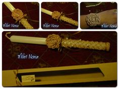 Crocheted gold thread and pearls λαμπάδα (Greek easter candle) An elegant lambada for easter, but reusable afterwards. Attach a pin or clip to the gold rose, and it can be used as a brooch or hair accessory, or simply sew on as applique to clothes or attach to a wrist cuff. The crocheted net can be reused to decorate a candle for a romantic candlelit dinner... https://www.facebook.com/HMikriNona