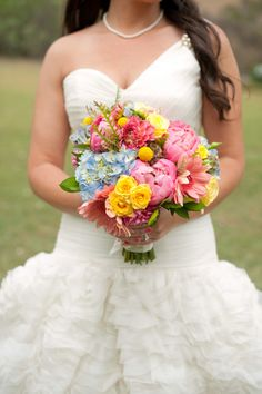 GORGEOUS pink, yellow, and blue bouquet!! Obsessed!