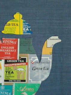 DIY kitchen collage: save tea packages, glue together and cut in the shape of a teapot Round Robin, Tea Tag, Just In Case, Just For You, Tea Bag Art, Cuppa Tea, Tea Packaging, Fun Cup, My Tea
