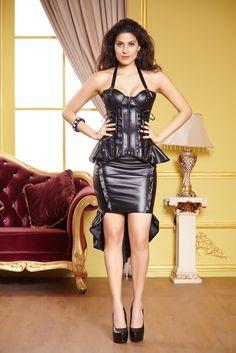 Gothic Corset Lingerie Adult Ladies Black Faux Leather Halter Burlesque Underwire PU Punk Bustier Top Zipper Front & Back Lacing Alternative Measures