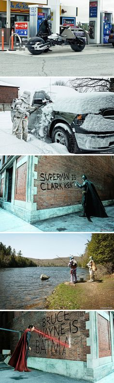 Graphic designer Daniel Picard makes some of the most beloved comic book heroes a bit more relatable by depicting them as normal people in everyday life