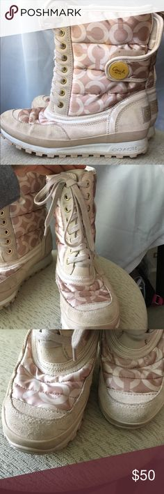 Coach snow boots Coach snow boots in size Women's 6 1/2. Beautiful golden cream color with Velcro on the back for easy put on/take off. Laces in front are completely functional but mostly for fashion. Worn only occasionally in snow which leaves these in good used condition with some minor wear. These are wonderfully fashionable and comfortable in the winter months! Coach Shoes Winter & Rain Boots