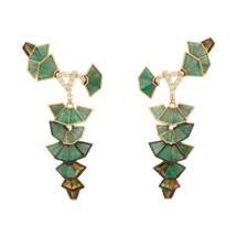 Nak Armstrong Emerald, Tourmaline, Diamond & Gold Drop Earrings