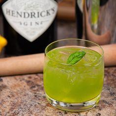 Gin Basil Smash: Gin, Lemon Juice, Simple Syrup, Fresh Basil.