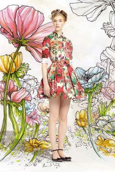 Dal genio creativo di Pierpaolo Piccioli e Maria Grazia Chiuri, direttori creativi della Maison Valentino, nasce la nuova collezione P/E 2014 Red Valentino che ci catapulta nel mondo delle fiabe – e ovviamente io me ne sono innamorata subito -.