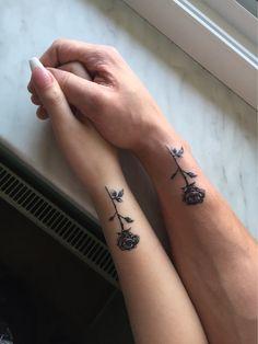#couplegoals #coupletattoos #rosetattoo #rose #matchingtattoos #love
