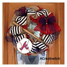This is a MADE TO ORDER wreath. Perfect for any baseball fan, this wreath measures apx. 24 inches, and is embellished with red burlap, blue & white Atlanta Baseball, Pro Baseball, Braves Baseball, Atlanta Braves, Football, Baseball Wreaths, Baseball Crafts, Sports Wreaths, Wreath Crafts