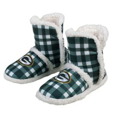 1653fa4c5b4270 Packers Women's Flannel Sherpa Boot Slippers Packers Pro Shop, Go Pack Go,  Slipper Boots