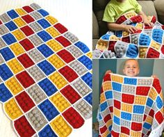 DIY, How To Crochet The Lego Blanket Pattern. I wonder if this could be adjusted with only six dots for Braille! Crochet Lego, Crochet Granny, Crochet Crafts, Crochet Yarn, Yarn Crafts, Crocheted Afghans, Crochet Blankets, Knitting Projects, Crochet Projects