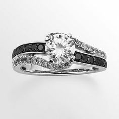 Round-cut black & white igl certified diamond swirl engagement ring in 14k white gold (1 1/2 ct. t.w.) on shopstyle.com