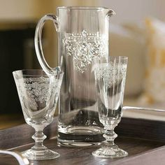 Learn more about our Lucca Cafe Goblets & Pitcher Set Only at IWA Wine Accessories! Table Setting Inspiration, Wine Table, Holiday Tables, Lucca, Outdoor Dining, Crystals, Handmade, Flutes, French Provincial