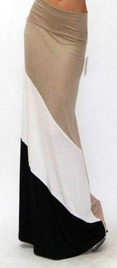 Comfy Casual Khaki Patchwork Print Pleated High Elastic Waist Floor Length Maxi Skirt!