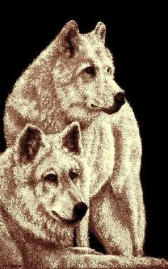 """(PW-AFTW) """"Two Wolves"""" Rustic Northwoods Area Rug (5' 1-1/2"""" x 6' 10"""")"""