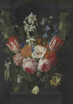 Nicolaes van Veerendael (Antwerp bapt. 1640-1691) A swag of tulips, peonies, carnations, narcissi and other flowers with a butterfly in a stone niche.