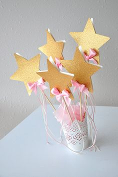 Pink and Gold Birthday Party Decoration Star by courtneyorillion