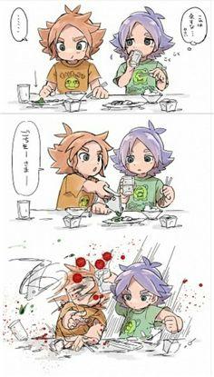 Don't do that to your brother Shiro, Inazuma Eleven Axel, Tenten Naruto, Litle Boy, Cute Twins, Cute Anime Boy, Boy Art, Manga Comics, Manga Drawing