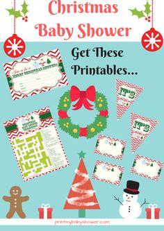 Get Your #Christmas #BabyShower #Printable games and decorations here:  http://printmybabyshower.com/christmas-baby-shower-printable-free-set/  You get the Christmas baby shower cross word puzzle, the Xmas banners, the holiday labels and the Xmas invitations.  You get everything you need to create a festive Christmas baby shower!