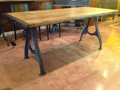 Your place to buy and sell all things handmade Butcher Block Tables, Garage Makeover, Table Legs, Diy Table, Farmhouse Table, Dining Room Table, Wood Crafts, Table Settings, Woodworking