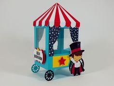 Pra deixar a sua festinha ainda mais colorida, trazemos esta linda caixinha carrinho de pipoca para festinha no tema Mágico. Festa Circo - Festa Parque de Diversões.