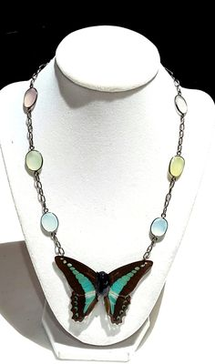 real butterfly wing necklace. Dusk butterfly wing jewelry DUSBLUT