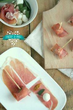 hapje van rauwe ham en mozzarella - Lekker eten met Linda !