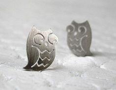 Owl Earrings  Owl Jewelry in sterling silver  Handmade by pippoko, $25.00