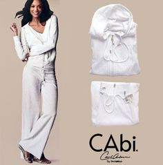 NEW CAbi Embossed Chain White Velour TrackSuit Gold Hardware Pockets Cotton M #CAbi #TrackSweatSuits #LuxeCella