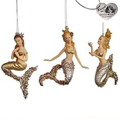 Mermaid Gold (Shaped) Glass ball 13cm Decoration set of 3 - New for Christmas | Home, Furniture & DIY, Celebrations & Occasions, Christmas Decorations & Trees | eBay!