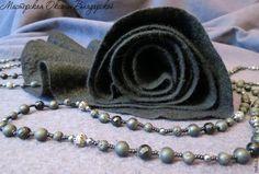 """Купить Войлочный шарфик """"Черная роза"""" - валяный шарф, валяный шарфик, капустный шарф"""
