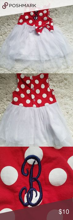 """""""B"""" Monogram Dress B is a dark blue thread. Worn 1x for my daughter's first birthday party. Perfect for a Minnie theme! Tag says size 80. We wore when she was in 12-18 month clothes at 1 year old. Spunky Kids Dresses Casual"""