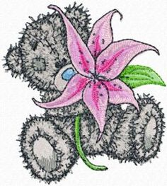 Teddy Bear with lily machine embroidery design. Machine embroidery design. www.embroideres.com