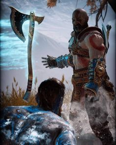 Kratos w/ his Leviathan axe vs Baldur God Of War 3, Kratos God Of War, Tao, I Love Games, Naruto Wallpaper, Fantasy Warrior, Video Game Art, Digimon, Game Character