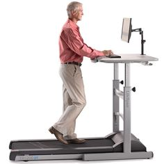 The mid-use TR1200-DT5 Treadmill Desk is our most popular model designed for those looking to walk for longer periods throughout the day or use by small groups. The desktop height adjusts manually, for setting where height adjustments are infrequent.