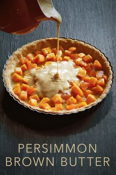 Holiday Desserts: Persimmon Tart with Brown Butter Batter - SippitySup - Kristen Mercer - Holiday Desserts: Persimmon Tart with Brown Butter Batter - SippitySup Holiday Desserts: Persimmon Tart with Brown Butter Batter - Mini Desserts, Holiday Desserts, Just Desserts, Dessert Recipes, Dinner Recipes, Tart Recipes, Health Desserts, Dinner Ideas, Persimmon Recipes