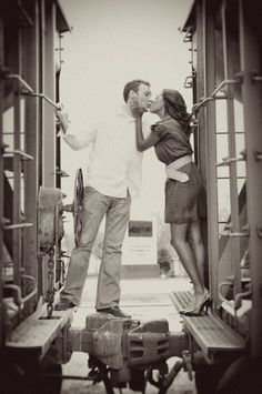 Engagement Photo On a train...going to have to do this with Doug :)