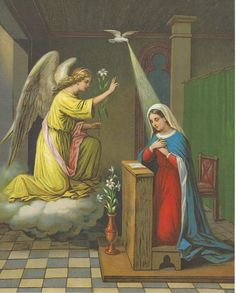 Catholic Art Print Picture of the ANNUNCIATION - Archangel Gabriel and the Blessed Virgin Mary. The lovely scene shows the Archangel Gabriel appearing to the Virgin Mary and asking if she would be the Mother of God. Catholic Art, Religious Art, Saint Gabriel, Catholic Pictures, The Transfiguration, Christian Artwork, Archangel Gabriel, Christ The King, Principles Of Art