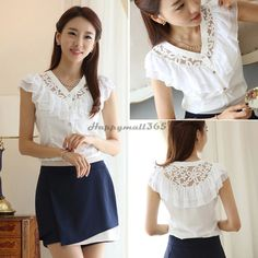 cool 2014 Brand new Summer time Females Whitened Blouses Ladies Workplace Style Stylish Ribbons As well as Ruffle Chiffon Clothing OL Brief Sleeve best b26 SV003844