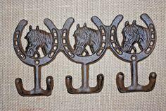 "(2),TRIPLE WESTERN HOOKS,horseshoes,horses,wall hooks,""antique look"",ranch, W-30 #wepeddlemetalcom"