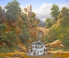 Пейзаж с водопадом и старой крепостью - Схемы вышивки - kolombino - Авторы - Портал «Вышивка крестом»