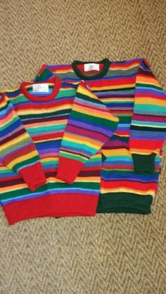 Random Rainbow Jumpers made to order to your own measurements. These jumpers are all one-offs and the colour combinations are made up as I go but you can choose the colour of the ribbed welts, cuffs and neck band. Design Your Own, Jumpers, Rainbows, Unicorns, Grey And White, Color Combinations, Blue Green, Knitwear, Blues